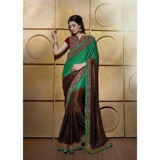 Manvaa Preety Green  Brown Jacquard Heavy work SareeNRT1805