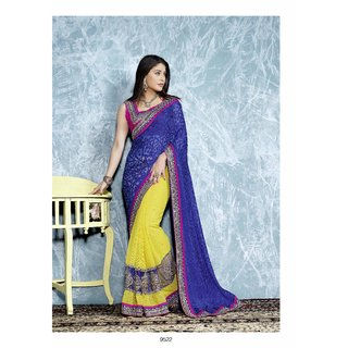 Manvaa Fascinating Blue  Yellow Chiffon Patch butta fancy border saree  CB9522