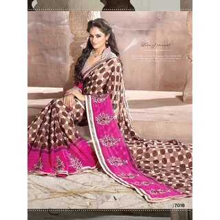 Manvaa Harbinger Multi-Color Georgette Embroidered fancy border Saree  FLR7018