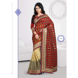 Manvaa Ripple Red  Gold Net Heavy Border saree  MK8106