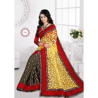 Manvaa Sempiternal Yellow With Black Jacquard Red Border saree  MK8108