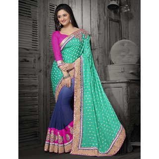 Manvaa Opulent Sea Green With Neavy Blue Jacquard cording patch and lace work saree  BB35018