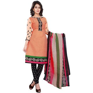 Aaina Orange Poly Cotton  Printed Suits (SB-2843)