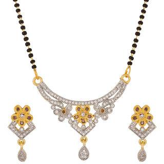 Beautiful Floral Pattern American Diamond Studded Mangalsutra MS-1289