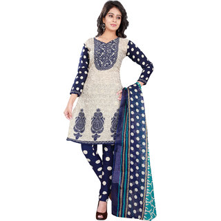 Florence Beige Polycotton Printed Salwar Suit Dress Material (Unstitched)