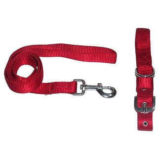 Pet Club51 HIGH QUALITY STYLISH DOG COLLAR AND LEASH WITHOUT PADDING 1 NCH-RED