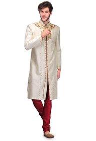 Cream Round Neck Sherwani for Men