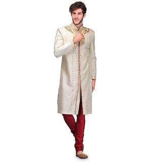 Cream Round Neck Sherwani for Men