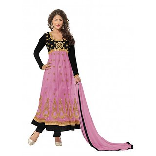 Aaina Pink Net Embroidered Suits (SB-2877) (Unstitched)