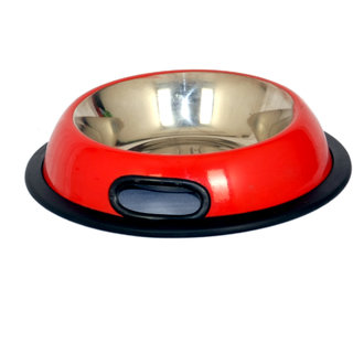 PET CLUB51 STANDARD DOG FOOD BOWL WITH HANDLE  -red-MEDIUM