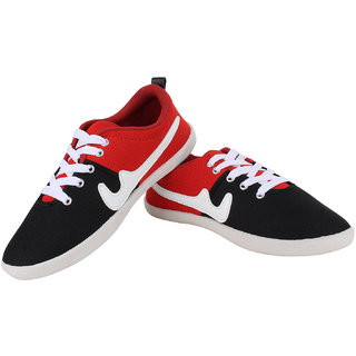 Sess Mens Red,Black Lace-up Casual Shoes