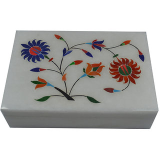 Craftuno Handcrafted Rectangular Marble Box With Inlay Work On Top