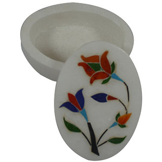 Craftuno Handcrafted Oval Marble Box With Inlay Work On Detachable Top