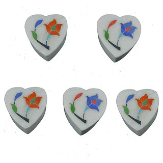 Craftuno Handcrafted Heart Shaped Marble Box Inlay Work On Detachable Top - Set of 5