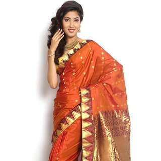 Pure Silk  Kanjeevaram Hand woven Saree-Red-MCSS10-Silk