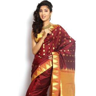 Pure Silk  Kanjeevaram Hand woven Saree-Maroon-MCSS11-Silk