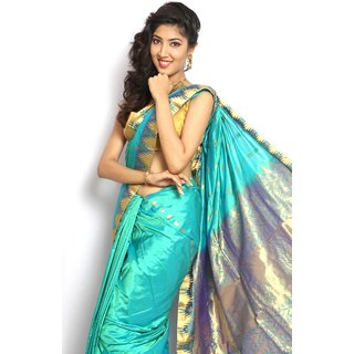 Pure Silk  Kanjeevaram Hand woven Saree-Blue-MCSS12-Silk