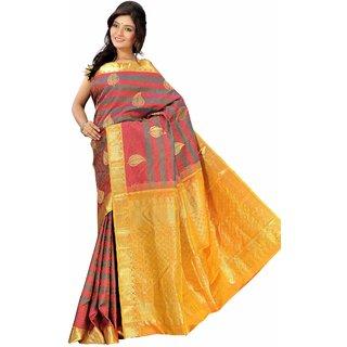Pure Silk  Kanjeevaram Hand woven Saree-Multicolor-MKJ38-Silk