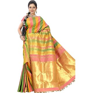 Pure Silk  Kanjeevaram Hand woven Saree-Multicolor-MKJ40-Silk