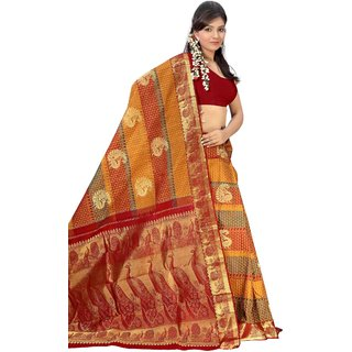 Pure Silk  Kanjeevaram Hand woven Saree-Multicolor-MKJ41-Silk