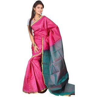 Pure Silk  Kanjeevaram Hand woven Saree-Pink-SAB20-Silk