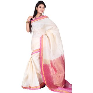 Pure Silk  Kanjeevaram Hand woven Saree-White-SAB21-Silk