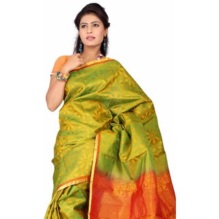 Pure Silk  Kanjeevaram Hand woven Saree-Green-SAB30-Silk