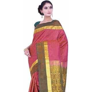 Pure Silk  Kanjeevaram Hand woven Saree-Pink-SAB45-Silk