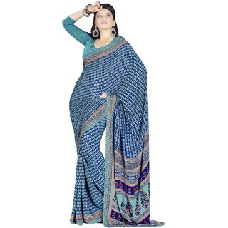 VINAMRA SILK DESIGN SAREE COLLECTIONS-Blue-VCS3780-VN-Crepe, Synthetic