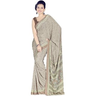 VINAMRA SILK DESIGN SAREE COLLECTIONS-Beige-VCS4576-VN-Crepe, Synthetic