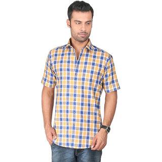 ZIDO Cotton Yellow Checkered Mens Shirt