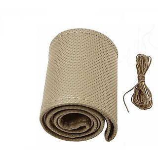 Autostark Steering Cover For Toyota (Beige, Leatherite)