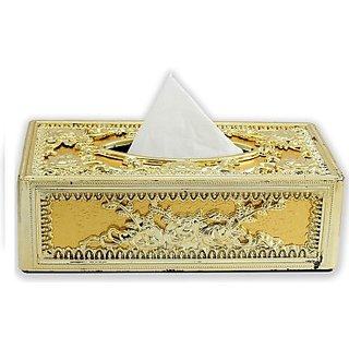 Autostark Gol-5132 Full Golden Designer Holder Box Vehicle Tissue Dispenser (Gold)