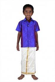 Soruba silk velcro dhotis and shirt