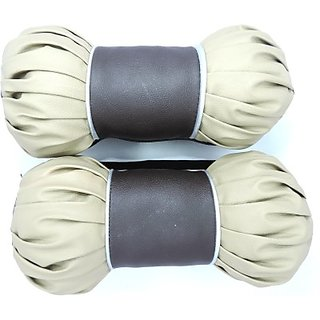 Autostark Beige/Brown-Imi001 Car Neck Pillow (Leather, Beige, Pack Of 2)