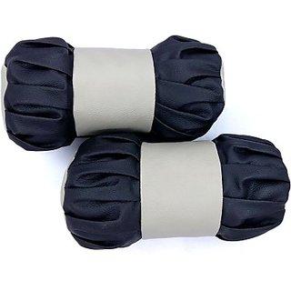 Autostark Bb02 Car Neck Pillow (Leather, Black, Beige, Pack Of 2)