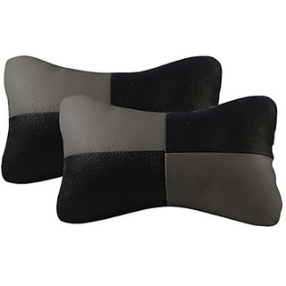 Autostark Black  Grey Colour Neck Pillow Car Cushion (Leatherite, Multicolor, Pack Of 2)