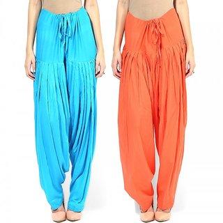 Combo - Orange n Trquoise Full Patiala Salwar