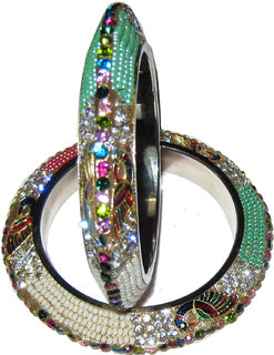 Akshat designer mayuri lac bangle set with pearls
