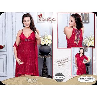 Buy Beautiful Bridal Red adorned 2 pc net satin nighty nightwear set with  robe Online - Get 19% Off 33160914c