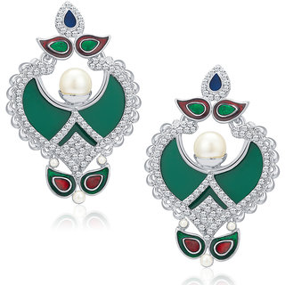 Sukkhi Royal Rhodium Plated AD Earrings For Women