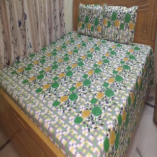 Printed Double BedSheet Shree Creations Double Bed sheet with Pillow Covers