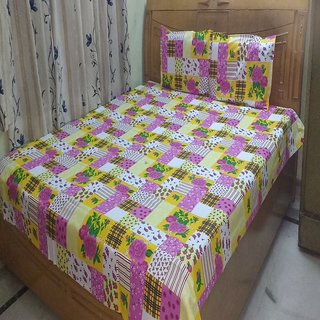 Double Printed Cotton BedSheet Shree Creations Double Bed sheet  Pillow Covers
