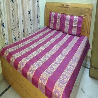 Self Printed Glaze Cotton Double Bed Sheet with Pillow Covers Shree Creations