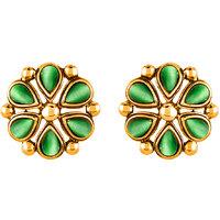 Mahi Monalisa Cats Eye Dark Green Flower Gold Plated Earrings For Women