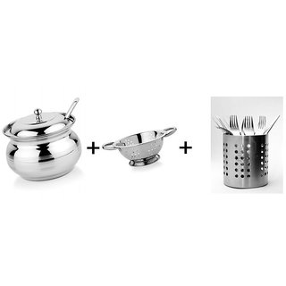 combo offer-Stainless Steel (Ghee Pot+Spoon Stand +Steel colander)-3qty