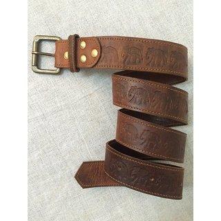 Leather Waist Belt With Elephants Embossed.
