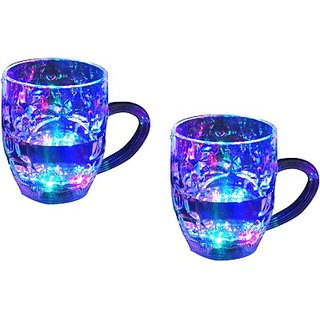 Lovato Beer Party Multi Color Led Lights Plastic Mug  300 ml, Pack of 2