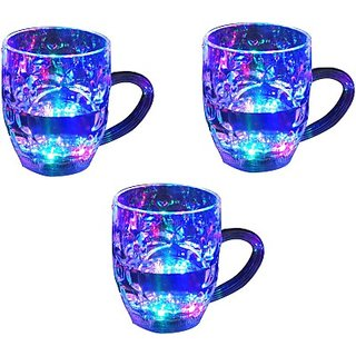 3 Beer Party Multi Color Led Light Plastic Mug (300 ml, Pack of 3)