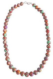 Multi Color Plain Round Mosaic Beads 18 Inch Necklace